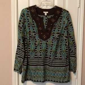 Charter Club Printed/Beaded Blouse